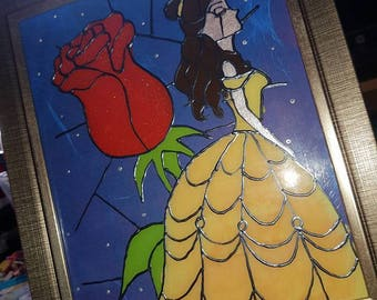 Belle Handcrafted Stained glass picture in frame. beauty and the beast