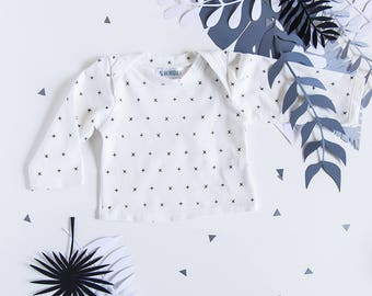 Graphic white Baby T-shirt * glitch *, Scandinavian inspired, black and white jersey neckline Bodysuit.