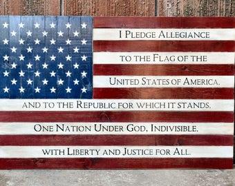 Large Painted Wood American Flag Pledge of Allegiance Distressed