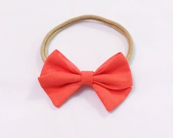 Classic coral bow headband toddler baby