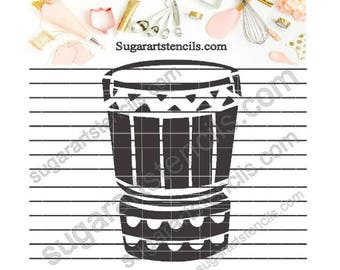 Hula drum instrument Polynesian cookie stencil Nb1511