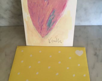 New Unused Vintage 1990's REACATH INC Love Card Just Because Thinking of You Card Yellow Envelope Kinka Abstract Heart Painting Collectible
