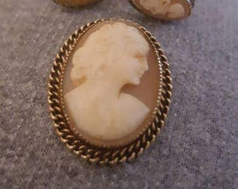 Vintage Catamore Cameo Brooch and Ear Rings