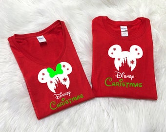 RED Disney SNOWFLAKE CASTLE with green Disney christmas,Disney inspired shirt,Family Vacation shirts,Disney christmas shirts,Family vacation