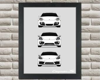 Porsche Cayman Generations Poster // 981 982 987 Cayman // Boxter // Porsche Poster // Porsche Print // Porsche Art