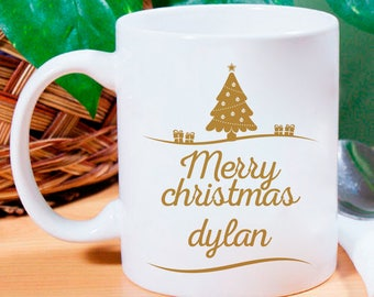 Beautiful Merry Christmas Mug Personalized With Name Printed On It