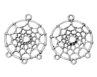 """10 connectors """"Dreamcatcher"""" metal silver 3.4 cm"""