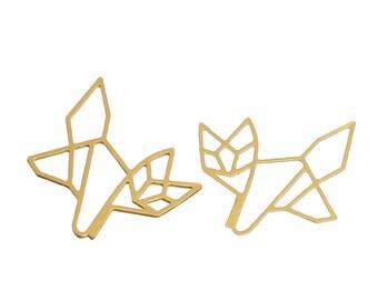 "2 pendants Origami ""Fox"" copper 2.4 cm"