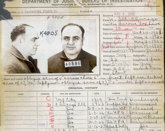 ON SALE Al Capone - Criminal Record - Rare - History - Vintage - Photograph - Print - Photo - Photography - Mafia - Chicago - Mobster - Proh