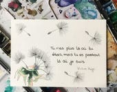 Aquarelle, carte, absence, manque, citation Victor Hugo