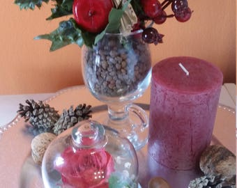 Natural flowers in glass bells