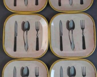 Plate, Set of 6, Melanine, Tapas Plates, Small Plates, John Darian,