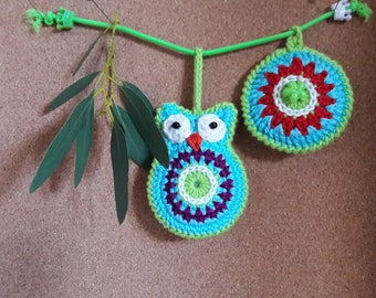 Colourful owl as zipper charm or key cord, crocheted (also to order)