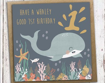 First birthday card, whale birthday card, 1st birthday card, children's birthday card, kids birthday card
