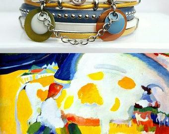 """Multicolor leather Cuff Bracelet """"Kandinsky 2"""""""