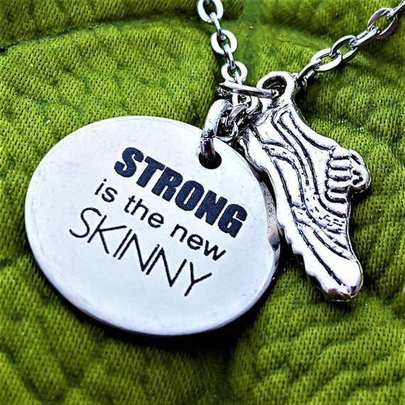 Gifts for Runners, Running Charm Necklace, CrossFit Jewelry, Fitness Gift, STRONG is the new SKINNY, Strength Charms, Coach Trainer Gift
