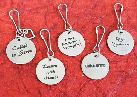 Gifts for LDS Missionaries Zipper Pulls, CUSTOM Jewelry for Male Female Missionary, Zipper Pull Word Charms, Mission Conference Theme Gifts