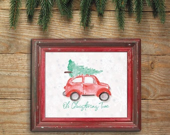 Christmas Tree Print, Watercolor Christmas, Christmas Tree on Car, Volkswagon Watercolor,  Watercolor Christmas Tree, Oh Christmas Tree