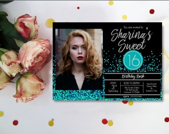 Turquoise Glitter Confetti Sweet 16 Invitations, Sweet 16 Invitations, Turquoise, Silver & Black background  20th 21st  Digital