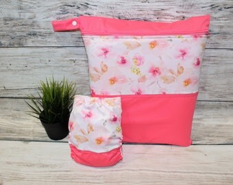 Duo pink vintage floral bag/diaper
