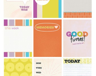 Scrapbook Cards for Project Life / Digital Printables / Citrus Colors / Scrapbooking Card / Project Life Printables