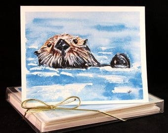 Set of Original PRINT Watercolor Otter  Cards, Animal Note Cards/Greeting Cards (Set of Four)watercolor Cards
