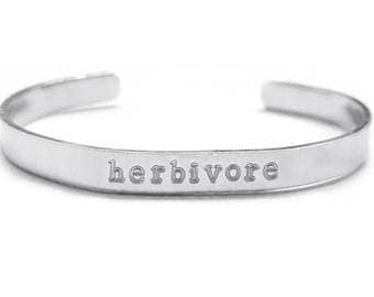 Herbivore Hand Stamped Cuff Bracelet - Vegan - Hand Stamped Jewelry - Aluminum - 6 x 1/4 inch - 25% of Profits Donated