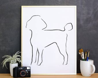 Poodle, Minimalist Dog Art Print,  Pet Loss Gift Ideas, New Dog Owner Gift, Dog Mom Gift, Dog Owner Decor, New Puppy Gift, Best Dog Gifts