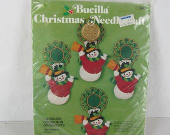 Vintage Bucilla Christmas doorknob ornaments felt and sequins