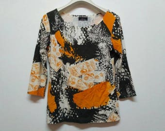 Rare Vintage L'equipe Yoshie Inaba Women Tops Shirt All Over Print / Fashion Designer