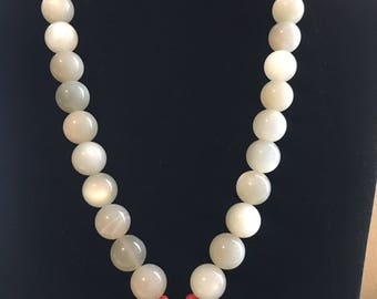Self-made stunning moonstone & carnelian bead necklace