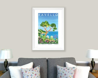 POSTER Amalfi Coast, Italy. Print of original collage. Ravello, trees, sea, coastline, green, blue. Living room decor. Home decoration.