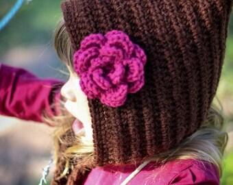 Fall Pixie Bonnet Crochet Hat with Flower