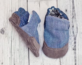 Faded Denim Baby Shoes, Soft sole Baby Shoes, Baby Booties, Handmade, Non Slip, Genuine Suede, Baby Slippers, Baby Moccasins