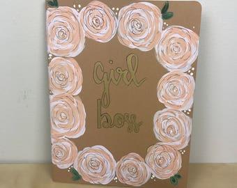Hand painted journal-Hand lettering-Girl Boss-Moleskine journal-Lined journal