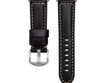 Black Leather Apple Watch Strap
