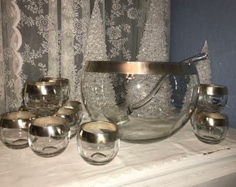 """Mid-Century Dorothy Thorpe """"Silver Band"""" 14 Piece Punch Bowl Set with Roly Poly Cups and Crystal Ladle, Collectors Condition, c. 1960"""