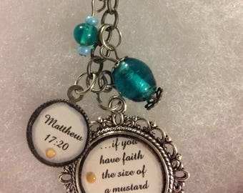 Scripture keychain with mustard seed matthew 17:20