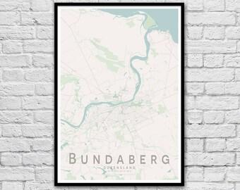 Bundaberg QLD City Street Map Print | Wall Art Poster | Wall decor | A3 A2