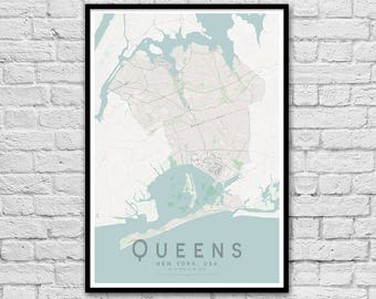 Queens, New York City USA City Street Map Print | Wall Art Poster | Wall decor | A3 A2