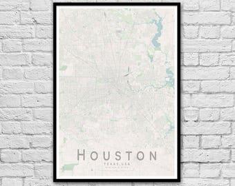 HOUSTON Texas USA City Street Map Print | Wall Art Poster | Wall decor | A3 A2