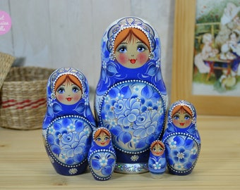 Babushka doll, Matryoshka, Gift for friend, Hand painted russian nesting doll in blue and white, Gift for her, Gouache painting on wood
