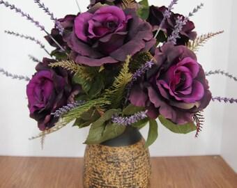 Silk Arrangement of Purple Roses and salvia in Ceramic Vase