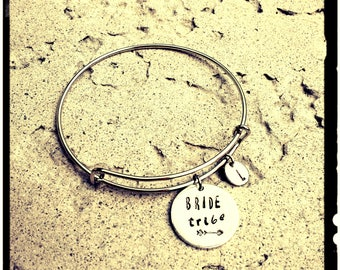 Bride Tribe - Charm Bangle//Initial - Hand Stamped Quality Aluminum//Silver Expandable Bangle - Bridesmaids Bracelets//Bridal Party//Wedding