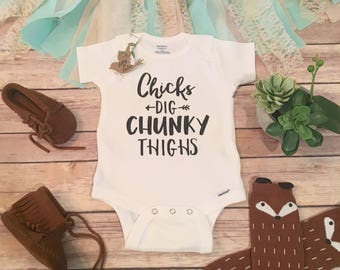 Baby Boy Gift, Funny Baby Onesie®, Hipster Baby Clothes, Funny Onesies, Baby Shower Gift, Chicks Dig Chunky Thighs, Baby Boy Clothes, Fat