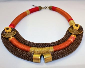 ethnic necklace brown rope