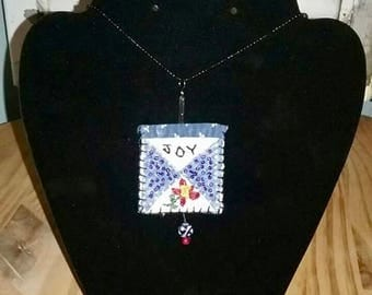 Vintage Quilt Necklace - Joy