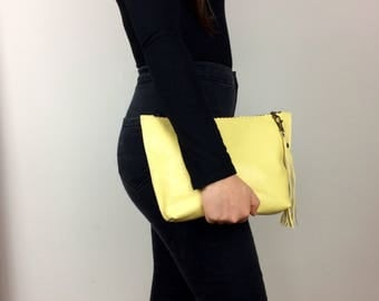 Yellow Clutch Bag, Yellow Leather Pouch, Clutch Bag with Zip