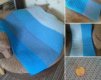 Crochet Striped Blue Blanket