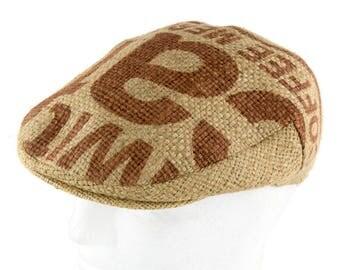 "Upcycling flat Cap Flatcap ""Café espresso""-subject ""Caffex"" (size: 58 cm)"